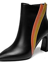 Недорогие -Жен. Fashion Boots Наппа Leather Зима Ботинки На толстом каблуке Закрытый мыс Ботинки Черный / Бежевый
