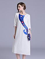 Недорогие -Жен. Винтаж / Шинуазери (китайский стиль) С летящей юбкой Платье - Цветочный принт, Вышивка Средней длины