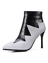 billiga -Dam Fashion Boots PU Höst vinter Stövlar Stilettklack Spetsig tå Korta stövlar / ankelstövlar Svart / Vinröd / Färgblock