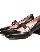 Недорогие -Жен. Комфортная обувь Наппа Leather Весна Обувь на каблуках На толстом каблуке Черный / Миндальный