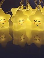 abordables -2,5 m Guirlandes Lumineuses 10 LED Blanc Chaud Décorative Piles AA alimentées 1 set
