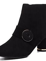 baratos -Mulheres Fashion Boots Camurça Outono Botas Salto Robusto Dedo Fechado Botas Curtas / Ankle Preto / Cinzento / Marron