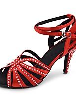 abordables -Femme Chaussures Latines Satin Sandale / Talon Strass / Boucle / Dentelle Talon Bobine Personnalisables Chaussures de danse Rouge