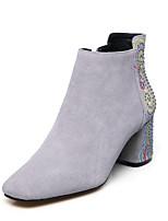 Недорогие -Жен. Fashion Boots Замша Осень Ботинки На толстом каблуке Закрытый мыс Ботинки Черный / Серый