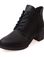 Недорогие -Жен. Ботильоны Полиуретан Наступила зима Ботинки На толстом каблуке Круглый носок Ботинки Черный / Винный