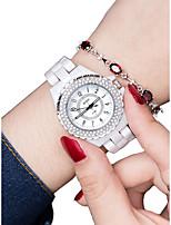 Недорогие -Жен. Дамы Наручные часы Кварцевый 30 m Защита от влаги Новый дизайн Керамика Группа Аналоговый Мода Белый - Серебряный Розовое золото