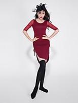 baratos -Dança do Ventre Vestidos Mulheres Espetáculo Modal Com Fenda Meia Manga Vestido