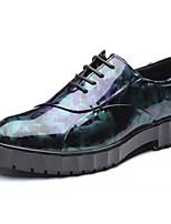 Недорогие -Муж. Комфортная обувь Полиуретан Осень Деловые Туфли на шнуровке Дышащий Черный / Синий