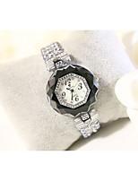 abordables -Femme Montre Bracelet Quartz Imitation de diamant Bande Analogique-Numérique Mode Noir / Blanc - Noir Argent / Acier Inoxydable