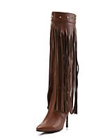 Недорогие -Жен. Fashion Boots Полиуретан Зима Ботинки На шпильке Заостренный носок Сапоги выше колена Черный / Темно-коричневый / Для вечеринки / ужина