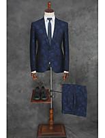 billiga -Mönstrad Skräddarsydd passform Polyester Kostym - Trubbig Singelknäppt 1 Knapp
