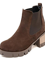 Недорогие -Жен. Fashion Boots Замша / Полиуретан Зима Ботинки На толстом каблуке Закрытый мыс Ботинки Черный / Светло-желтый / Темно-коричневый