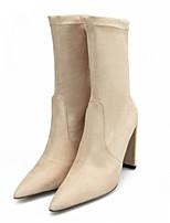 Недорогие -Жен. Fashion Boots Искусственный мех Весна & осень На каждый день Ботинки На толстом каблуке Заостренный носок Сапоги до середины икры Черный / Розовый / Миндальный / Для вечеринки / ужина