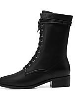 Недорогие -Жен. Fashion Boots Замша / Кожа Осень Ботинки На толстом каблуке Закрытый мыс Ботинки Черный