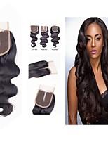 Недорогие -Малазийские волосы 4x4 Закрытие / Бесплатно Part Волнистый Средняя часть Швейцарское кружево Натуральные волосы Жен. Гладкие / Классический / Лучшее качество