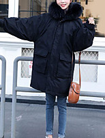 Недорогие -Жен. На выход Однотонный Длинная На подкладке, Полиэстер Длинный рукав Капюшон Черный / Красный / Желтый L / XL / XXL / Тонкие