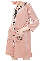 abordables -Femme Costumes Vêtement de nuit - Couleur Pleine, Imprimé / Col de Chemise