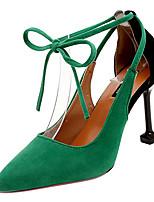 Недорогие -Жен. Балетки Полиуретан Осень На каждый день Обувь на каблуках На шпильке Заостренный носок Кристаллы Черный / Серый / Зеленый / Повседневные