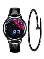 Недорогие -Муж. Спортивные часы Цифровой 30 m Творчество Новый дизайн ЖК экран Кожа Группа Цифровой Мода минималист Черный - Синий Черный / Синий Серебристый / Красный Один год Срок службы батареи
