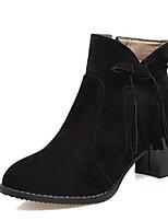 billiga -Dam Fashion Boots PU Höst Stövlar Bastant klack Stängd tå Korta stövlar / ankelstövlar Svart / Beige / Röd