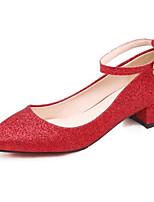 baratos -Mulheres Sapatos Confortáveis Lona Outono Sapatos De Casamento Salto Robusto Dourado / Prata / Vermelho