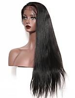 Недорогие -Натуральные волосы Лента спереди Парик Бразильские волосы Естественный прямой Парик Глубокое разделение 130% Плотность волос Подарок Горячая распродажа Удобный Нейтральный Жен. Длинные
