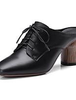 Недорогие -Жен. Балетки Наппа Leather Весна Обувь на каблуках На толстом каблуке Белый / Черный
