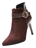Недорогие -Жен. Fashion Boots Полиуретан Осень Минимализм Ботинки На шпильке Заостренный носок Ботинки Черный / Кофейный