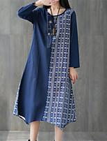 baratos -Mulheres Boho Solto Calças - Tribal Estampado Cintura Alta Azul