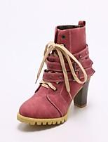 baratos -Mulheres Fashion Boots Couro Ecológico Outono & inverno Botas Salto Robusto Ponta Redonda Botas Cano Médio Tachas Amarelo / Fúcsia / Azul