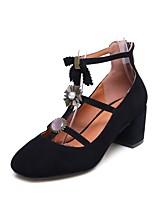 Недорогие -Жен. Комфортная обувь Овчина Наступила зима Обувь на каблуках На толстом каблуке Черный
