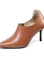 Недорогие -Жен. Fashion Boots Наппа Leather Осень Обувь на каблуках На шпильке Закрытый мыс Ботинки Черный / Оранжевый