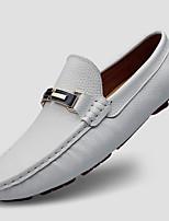 Недорогие -Муж. Кожаные ботинки Кожа Осень На каждый день / Английский Мокасины и Свитер Массаж Белый / Черный
