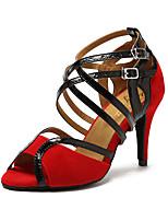Недорогие -Жен. Обувь для латины Искусственная кожа На каблуках Планка Тонкий высокий каблук Танцевальная обувь Черный / Светло-красный