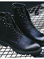 Недорогие -Муж. Комфортная обувь Кожа Зима Ботинки Сапоги до середины икры Черный