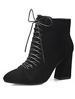 Недорогие -Жен. Fashion Boots Наппа Leather Зима Ботинки На толстом каблуке Закрытый мыс Ботинки Черный / Серый / Миндальный