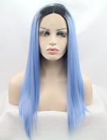 Недорогие -Синтетические кружевные передние парики Естественные прямые Стрижка каскад 130% Человека Плотность волос Искусственные волосы 26 дюймовый Женский Черный / Синий Парик Жен. Средняя длина Лента спереди
