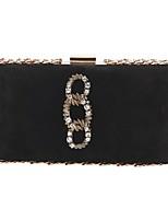 Недорогие -Жен. Мешки Бархат / Сплав Вечерняя сумочка Кристаллы Геометрический рисунок Черный / Серый