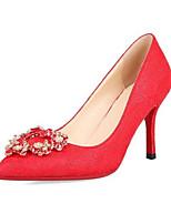 Недорогие -Жен. Комфортная обувь Сатин Осень Обувь на каблуках На шпильке Красный