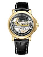 Недорогие -WINNER Муж. Механические часы С автоподзаводом Защита от влаги С гравировкой Творчество Нержавеющая сталь Группа Аналоговый На каждый день Мода Черный / Коричневый - Brown / Gold