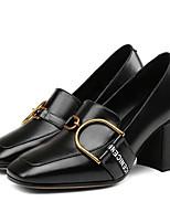 Недорогие -Жен. Комфортная обувь Наппа Leather Лето / Весна лето Обувь на каблуках На толстом каблуке Черный / Хаки