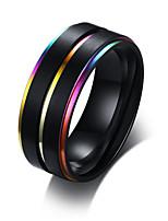 billiga -Herr Klassisk Bandring Ring - Rostfri Trendig, Kineseri, Färgglad 8 / 9 / 10 / 11 / 12 Svart Till Dagligen Datum
