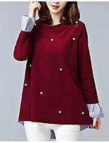 Недорогие -женский плюс размер хлопка свободная футболка - сплошной цветной шею