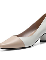 Недорогие -Жен. Комфортная обувь Наппа Leather Осень Обувь на каблуках На толстом каблуке Белый / Розовый