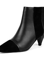 Недорогие -Жен. Fashion Boots Наппа Leather Осень Ботинки На низком каблуке Закрытый мыс Ботинки Черный / Миндальный