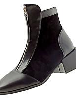 Недорогие -Жен. Fashion Boots Полиуретан Зима На каждый день Ботинки На толстом каблуке Сапоги до середины икры Черный / Контрастных цветов