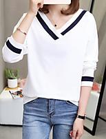 Недорогие -женский выход из тонкой футболки - цветной блок v шеи