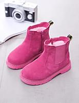 Недорогие -Девочки Обувь Лакированная кожа Наступила зима Армейские ботинки Ботинки Молнии для Дети Черный / Пурпурный / Розовый / Сапоги до середины икры