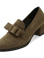 Недорогие -Жен. Комфортная обувь Полиуретан Осень На каждый день Обувь на каблуках Блочная пятка Круглый носок Белый / Черный / Военно-зеленный / Повседневные