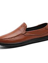 Недорогие -Муж. Комфортная обувь Кожа / Полиуретан Осень На каждый день Мокасины и Свитер Нескользкий Черный / Темно-русый / Темно-коричневый